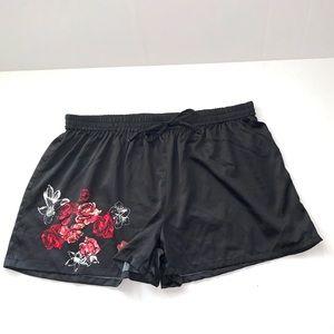 Japna Lounge black floral satin sleep short XL